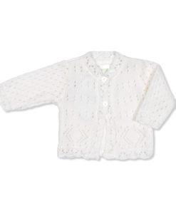Unisex White Cardigan Diamond