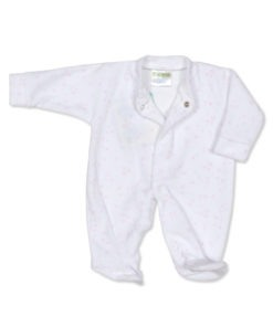 Pink Stars Velour Sleep Suit/Baby Grow
