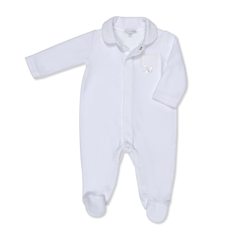 Unisex White Velour Luxury Baby Grow - Teddy