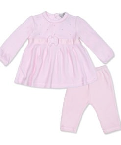 Pink Diamante Velour Trouser and Top Suit