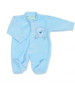 Boys Blue Teddy Velour Sleepsuit