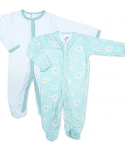 Girls Daisy Floral Twin Pack Sleepsuit