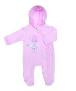 Girls Pink Teddy Sleepsuit