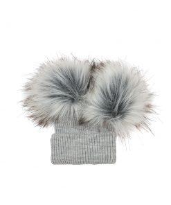 Unisex Grey Double Pom Hat